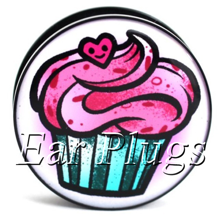 Wholesale 60pcs Cute Pink Cupcake ear gauges acrylic screw ear plug flesh tunnel body piercing mix size 6mm-25mm A0501