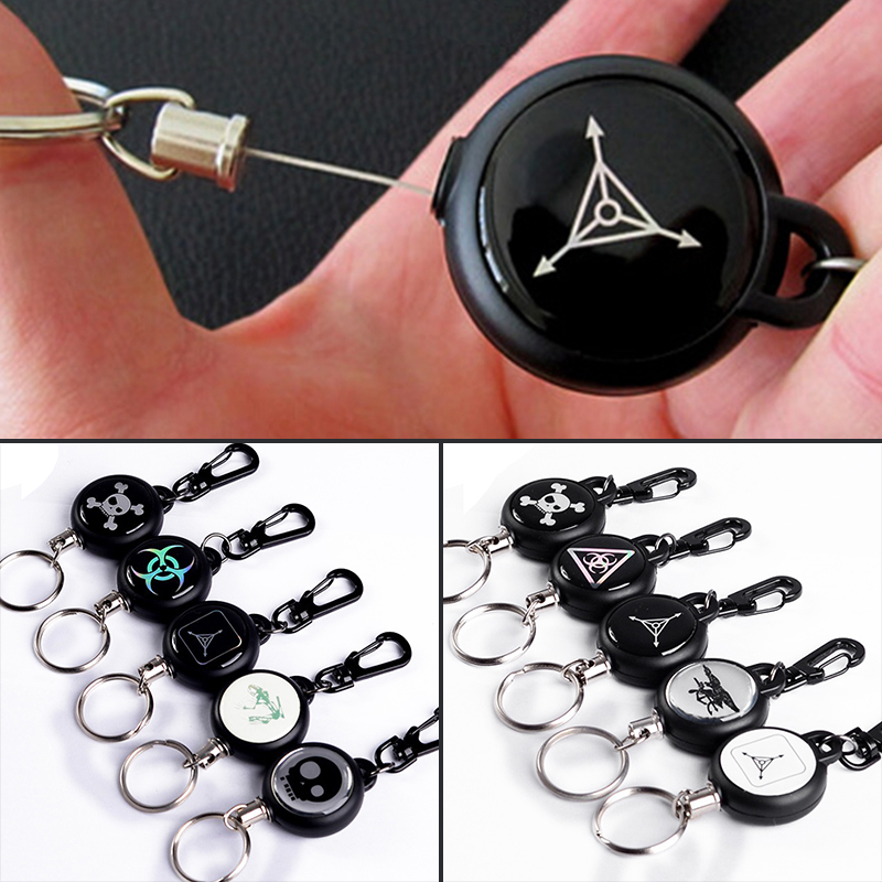 1pc Safety Anti-lost TAD Steel Rope Burglar Keychain TAD Skull Retractable Quickdraw Keyring Keychains