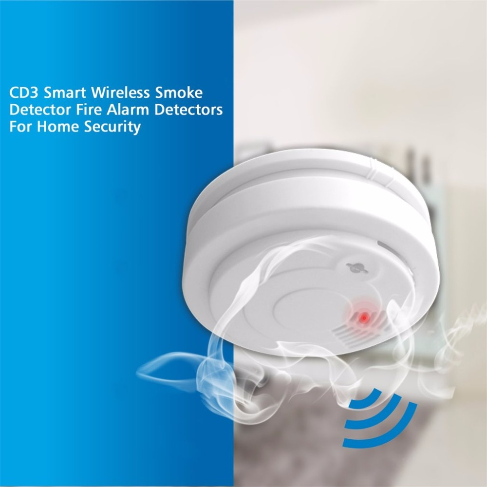 Mini Portable CD3 Smart Wireless Smoke Detector Fire Alarm Linked With Alarm System Detectors For Home Security photoelectric smoke probe hvdc smoke fire alarm household electric smoke detectors