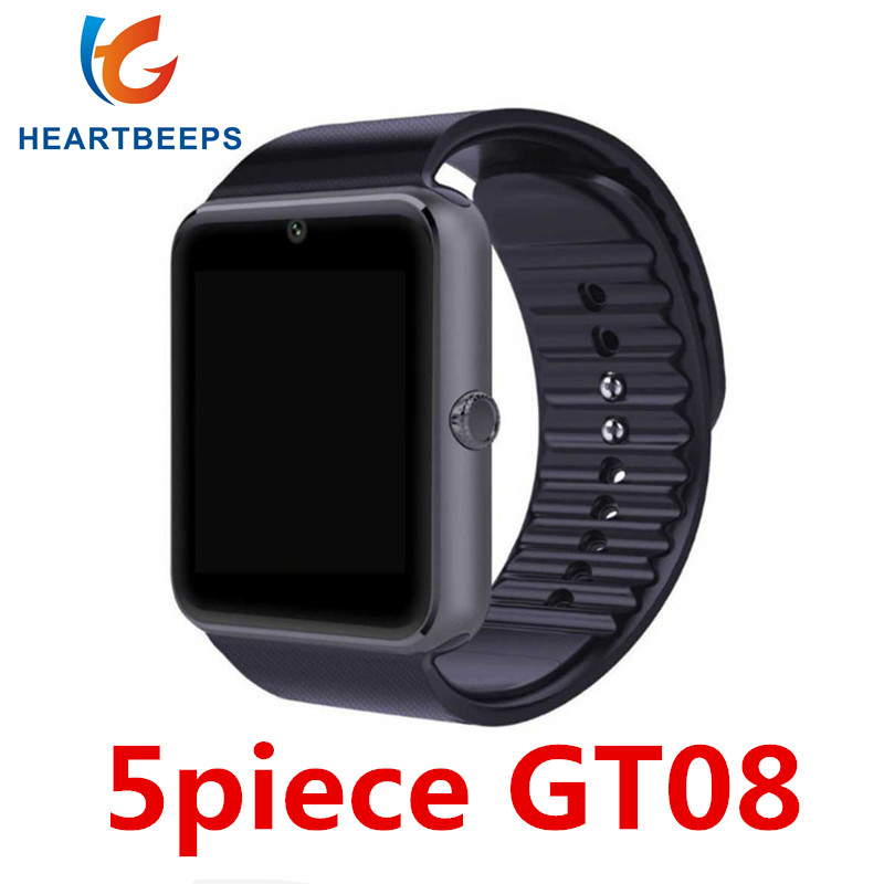 5 piece GT08 Smart Watch Clock Hours Sync Notifier Support SIM TF Card Camera Connectivity Android Phone Smartwatch 696 smart watch gt08 clock sync notifier support sim tf card bluetooth connectivity android phone smartwatch alloy smartwatch