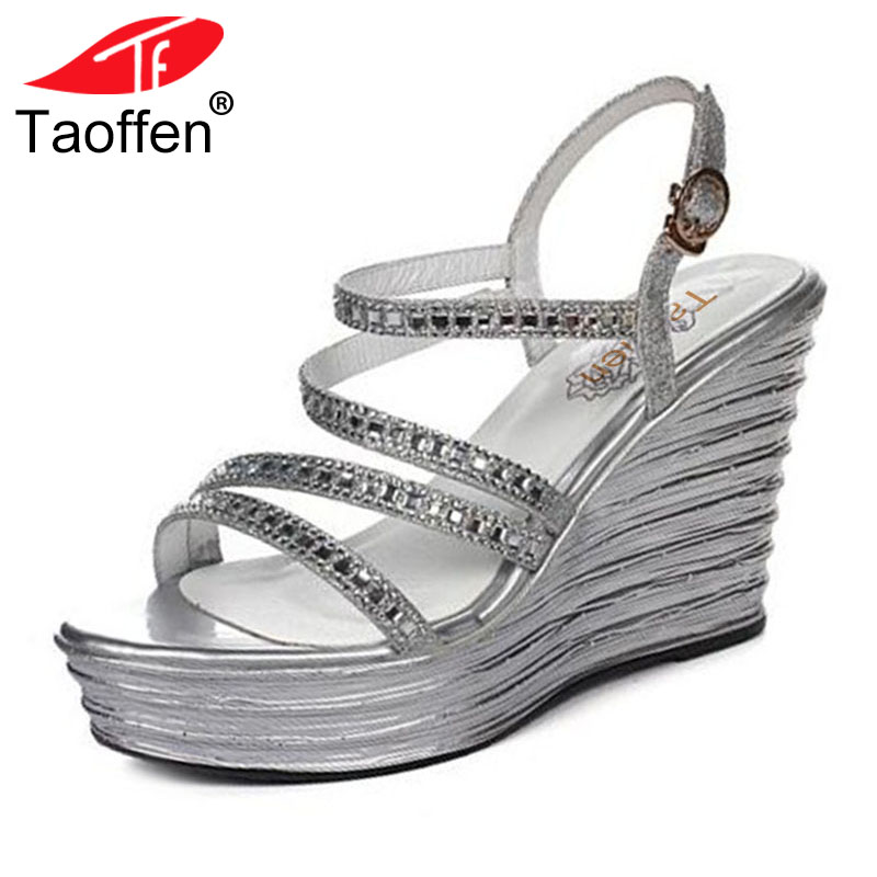 TAOFFEN Sexy Women Real Genuine Leather High Wedges Sandals Summer Vacation Shoes Elegant Party Sandal Women Shoe Size 34-39