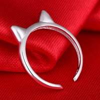 Original Design Silver 925 Sterling Silver Adjustable Ring Opening Kitty Cat Art Explosion Models Tail Ring