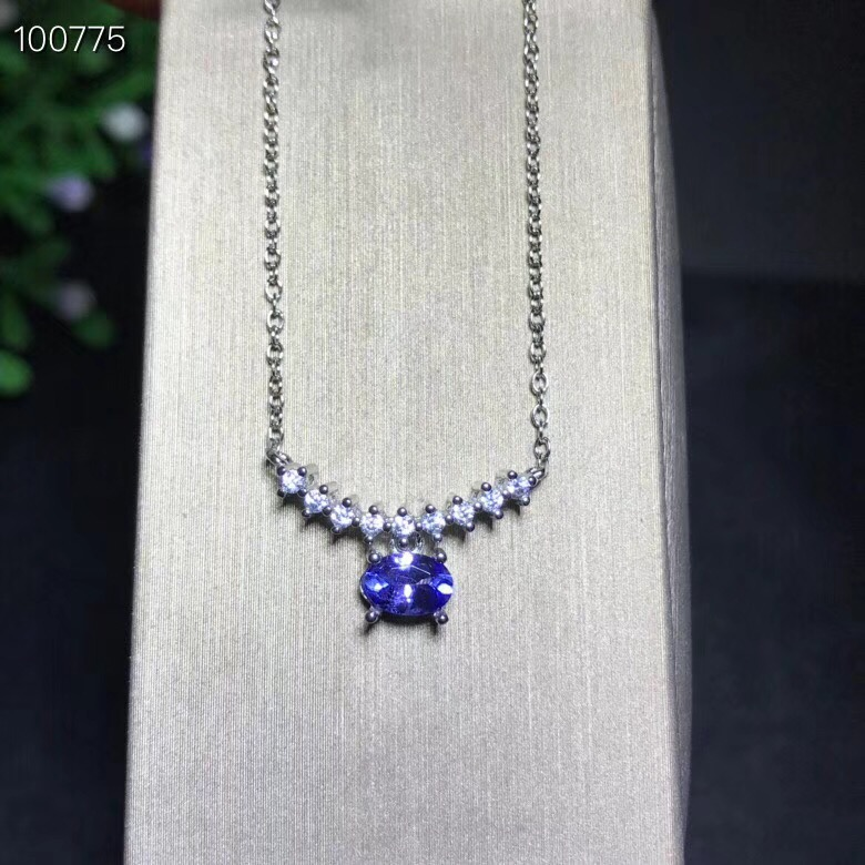 Uloveido Natural Tanzanite Pendant Necklace for Women 925 Sterling Silver Gemstone Fine Necklace Pendant for Girls