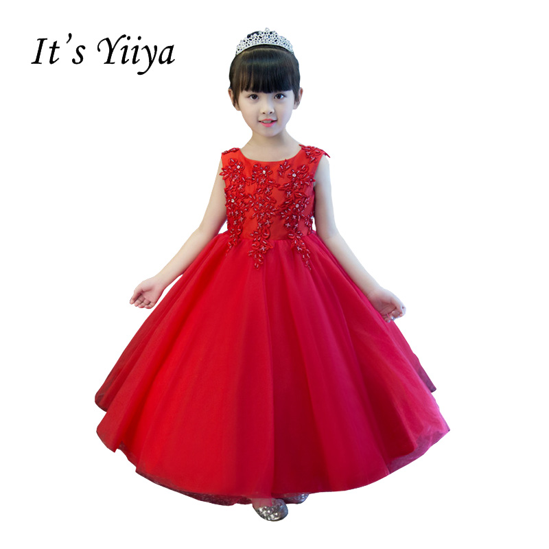 It\'s YiiYa New Red Sleeveless Chiffon Flower Beading Ankle Length ...