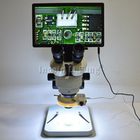 Full HD 11.6 inch Integrated Display HDMI Measuring Camera Trinocular Stereo Microscope 7X 90X Continuous Zoom Chip Detection