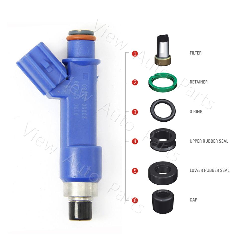 medium resolution of 100 sets fuel injector repair kits filter orings plastic parts for 04 08 toyota corolla matrix 1 8l vd rk 0207