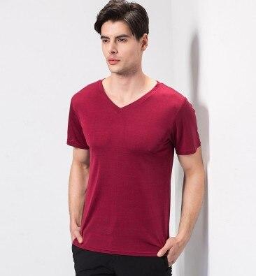 Hk soie rime 2019 nouveaux hommes à tricoter 100% mûrier soie v-cou t-shirts à manches courtes rouge