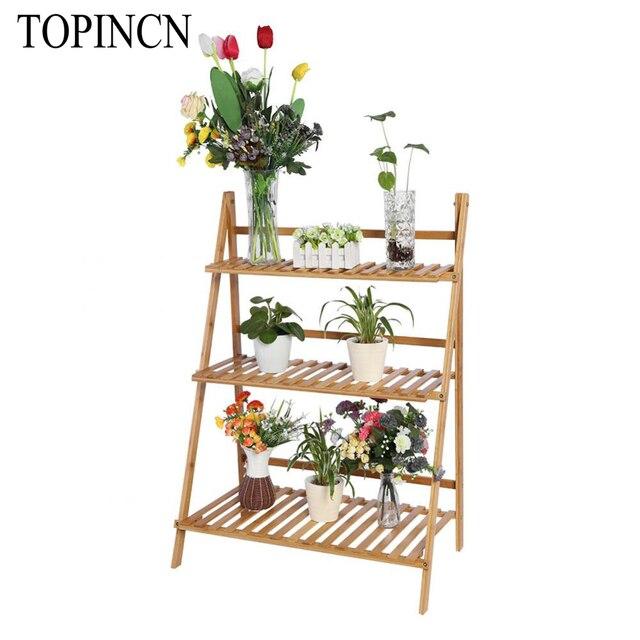 Multi Layer Foldable Bamboo Indoor Flower Pot Holder Garden Patio Small Plant Stand Pergolas Succulent Plants Shelf