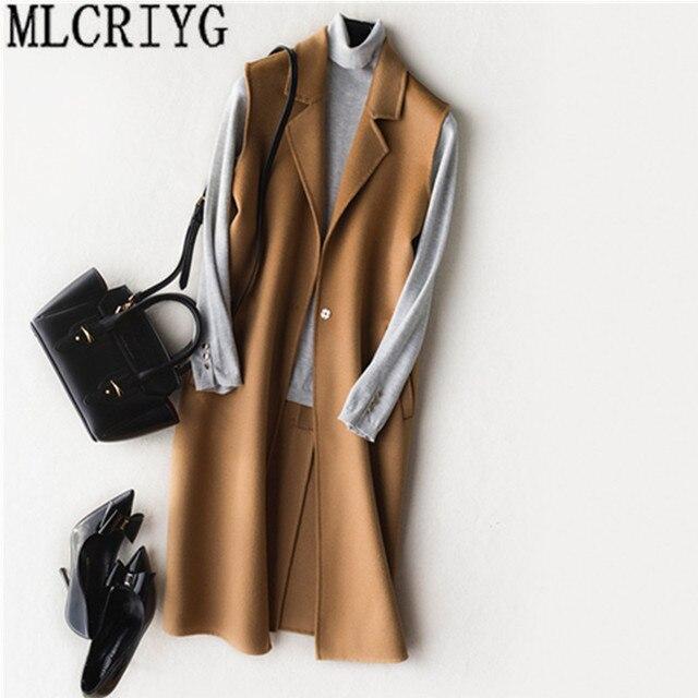 100% Wool Coat Female Jacket Autumn Winter Long Vest 2018 New Wasitcoat for Women Sleeveless Vests Women's Spring Jackets YQ050