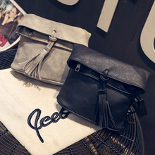 KEENICI Retro Tassel Bucket Women Messenger Bag Foldable PU Leather Crossbody Bag Ladies Female Shoulder Bag Sac A Main Bolsos