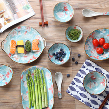 Japanese Style Ceramic Bowl Rice Soup Noodle Home Sauce Bowl Sushi Fish  Dinner Plate C salad bowl porcelain plate japanese style home decor tableware ceramic dinner bowls soup noodle rice bowl