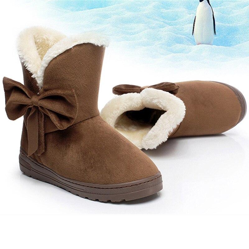 Winter Suede Ankle Boots Women Fur Bowtie Flat Cotton Boots Ladies Slip on Shoes Warm Comfort Short Snow Boot QST905 slip on faux fur flat suede snow boots