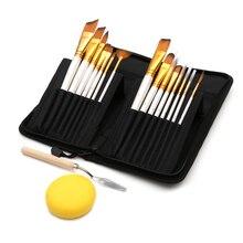 Schilderen Art Set 15 Pcs Nylon Haar Penseel & Carrying Black Case Paletmes en Spons Voor Tekening Olie acryl Aquarellen