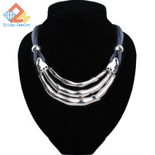 Free shipping 2015 new retro fashion glossy metal arc wax rope necklace antique silver