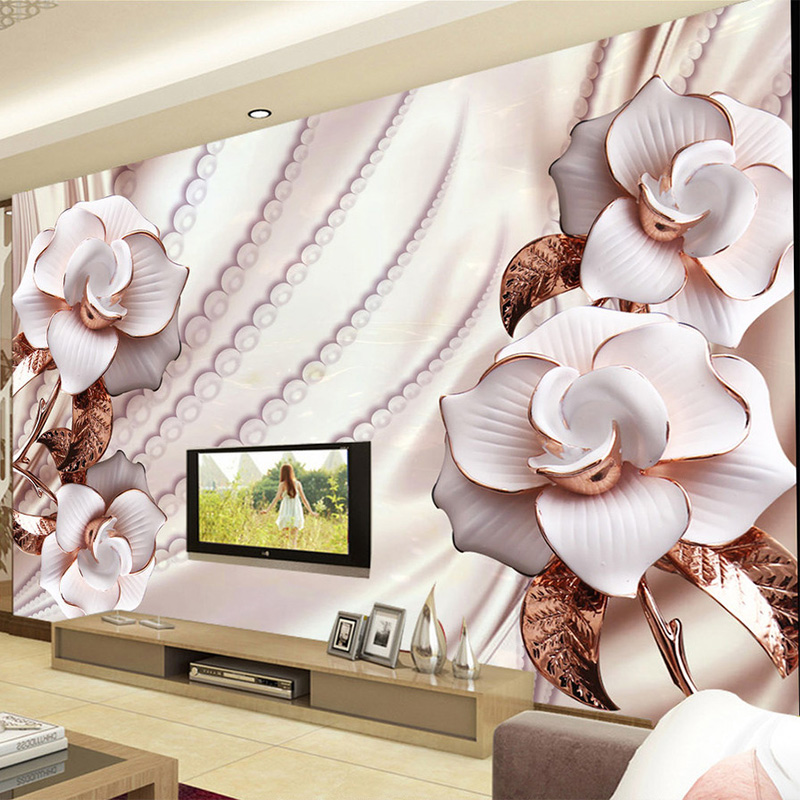 Photo Wallpaper 3D Jewelry Flower European Style Luxury Mural Living Room TV Sofa Backdrop Wall Home Decor Papel De Parede Sala