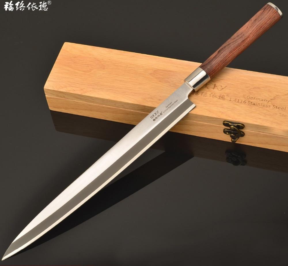 24/27 / 30cm Mano izquierda japonés Yanagiba Alemania 1.4116 Hoja de acero Brasil Palo de rosa Hanlde Sushi Sashimi fileteado de pescado 9W