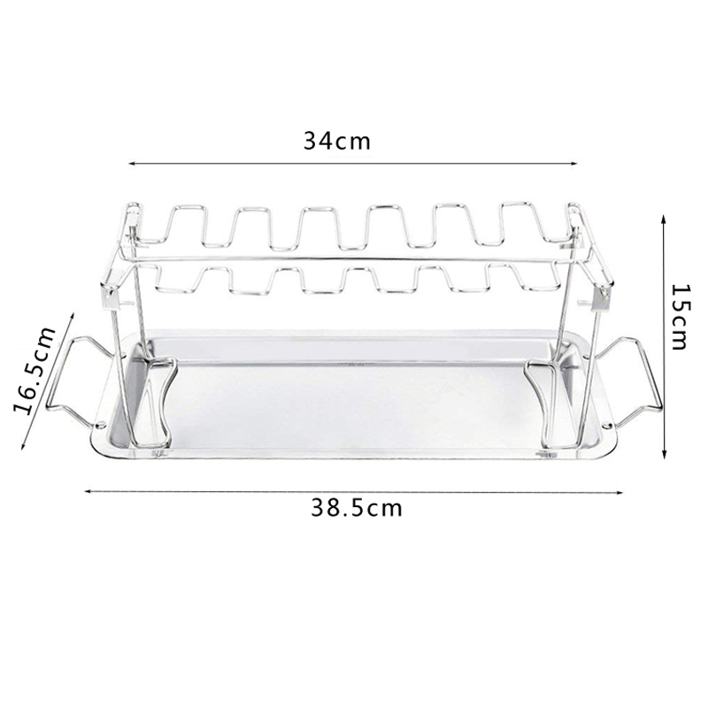 High Quality Stainless Steel Chicken Wing Leg Rack Grill Holder with Drip Pan for Cooking BBQ VE