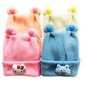 Sombreros del bebé de Punto de Algodón Sombreros Para Los Recién Nacidos de Dibujos Animados Gatito Bebé Sombreros de Invierno Del Oído Del Bebé Caps 0-3 meses