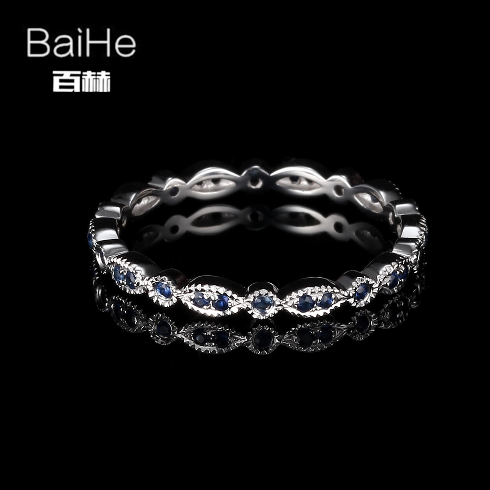 BAIHE Sterling Silver 925 0.22ct Certified H/SI Round Cut 100% Genuine Sapphires Wedding Women Trendy Fine Jewelry unique Ring