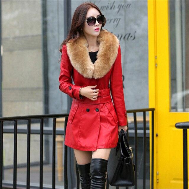 49f901d5d581f 2017 Leather Coat women New Style Waist Separated Desigan Women Fur Collar  Leather Jacket Women suede Coat Female coat plus Size