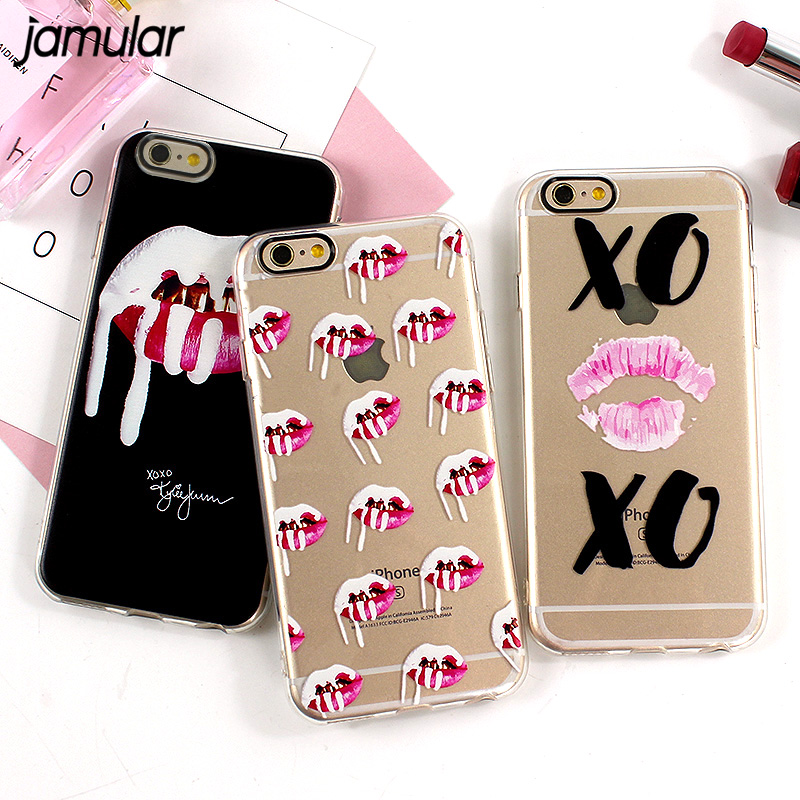 JAMULAR Graffiti Sexy Lips Phone Case For iphone 6 6s 7 Plus Soft Silicone Cases For iphone 7 8 Plus Cover Protective Kiss Capa