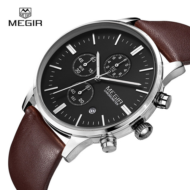 Megir quartz watches men luminous waterproof sports watch man commercial leather wristwatch 2011 free shipping