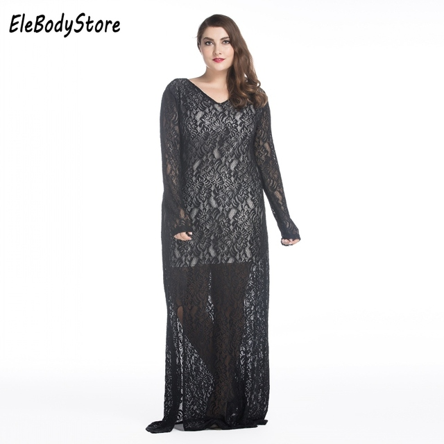 27459568e6b ELEBODYSTORE Plus Size Women Casual Sexy Lace Long Summer Maxi Dress 2017  Split Long Sleeve Dresses Black Red 4XL 5XL 6XL 7XL