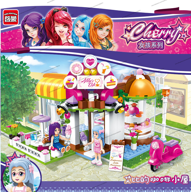 New Model building kits compatible with lego Girls Friends ABBY's Coffee House 3D blocks Educational toys hobbies for children конструктор lego friends кондитерская стефани 41308