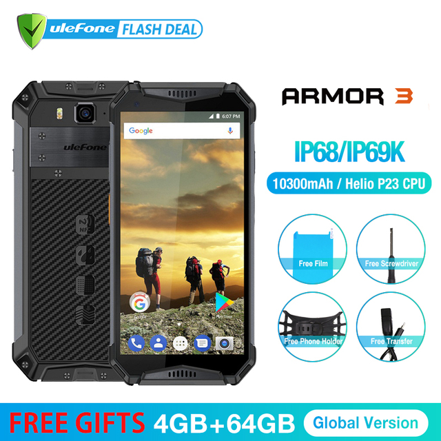"Ulefone Armor 3 IP68 Waterproof Mobile Phone Android 8.1 5.7"" FHD+ Octa Core 4GB+64GB 21MP 10030mAh Global Version Smartphone"