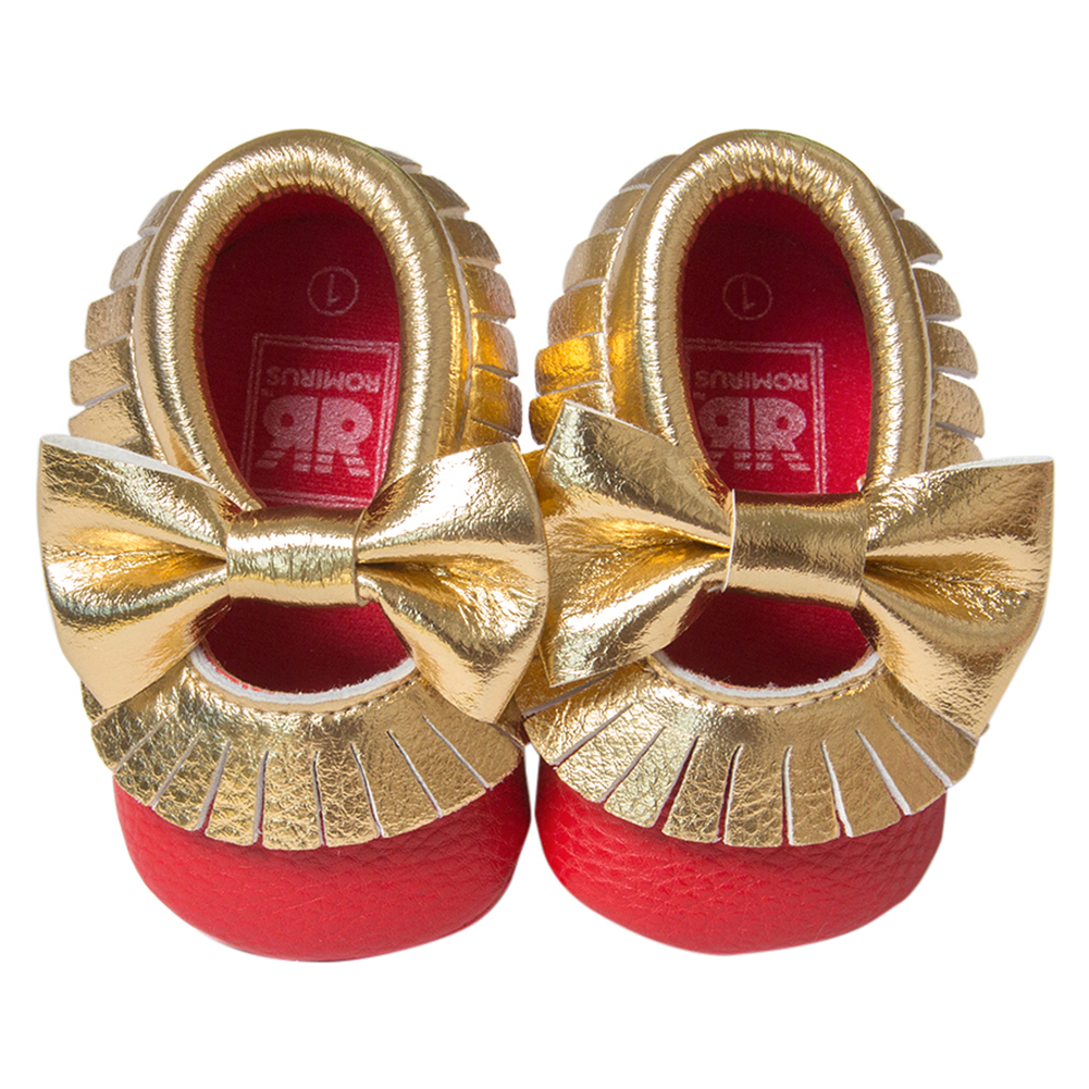 ROMIRUS Baby Moccasins Soft Bottom Butterfly-knot Baby Shoes Tassels Baby Prewalkers Shoes Red and Gold 11cm