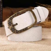 New Vintage Leather Floral Curved Buckle Belts For Women/Top Quality Accessory