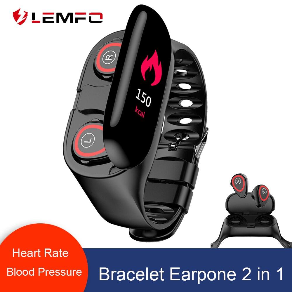 LEMFO M1 Dual Bluetooth 4 2 Earphone Smart Bracelet Heart Rate Blood Pressure Tracker Smart Watch