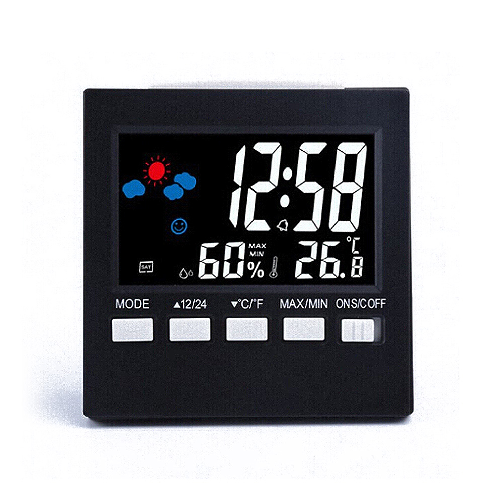 Clock Calendar Voice Control LCD Screen Thermometer Clocks Indoor Humidity Monitor Electronic Digital Display Temperature Alarm
