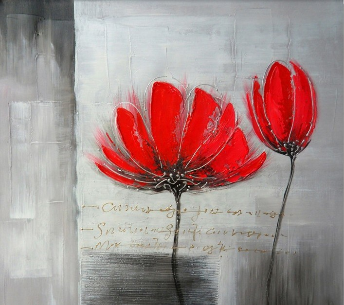 100 Free Shipping Hand Painted Modern Red Flowers As Hot