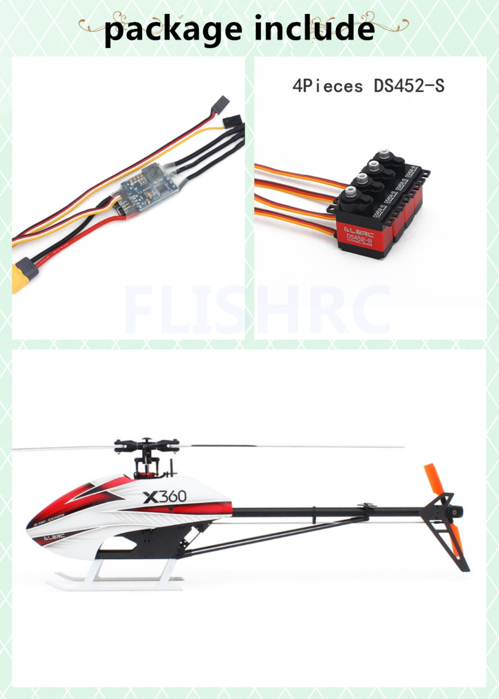 In Stock 2018 The Newest ALZRC-X360 FAST FBL KIT Helicopter (include ESC+Servos)for GAUI X3 alzrc devil x360 metal radius arm set red x360 helicopter parts fit gaui x3 dx360 09ma