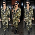 2016 Spring New Sexy One Piece Outfits Letter Print Camouflage Army Green Rompers Womens Jumpsuit V Neck Bodycon Overalls