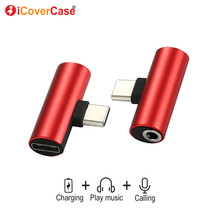 Dual Headphone 3.5mm Jack Type c 2 In 1 Audio Charger For