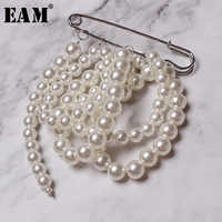 [EAM] 2019 Spring Summer Woman New Listing Temperament Solid Color Pik Stitch Imitation Round Pearl Long Brooch Decoration LD678