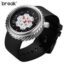 Przerwa męskie zegarki Top luksusowa marka zegar mężczyźni gumy kreatywny wojskowy Sport Wrist zegarek kwarcowy na prezent Relogio Masculino|masculino|masculinos relogiosmasculino watch -