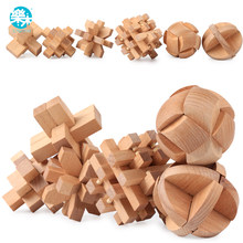 Logwood Wooden toy Wooden Puzzle Cube Burr Puzzle Luban lock Adult and baby toys Learning & Educational 6pcs gifts for Children(China)