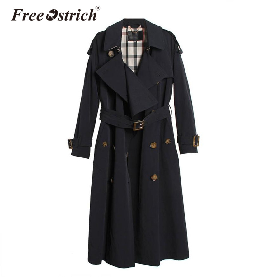 Free Ostrich 2019 Autumn Woman   Trench   Coat Classic Double Breasted Waterproof Raincoat Long Outerwear with Belt Sep15