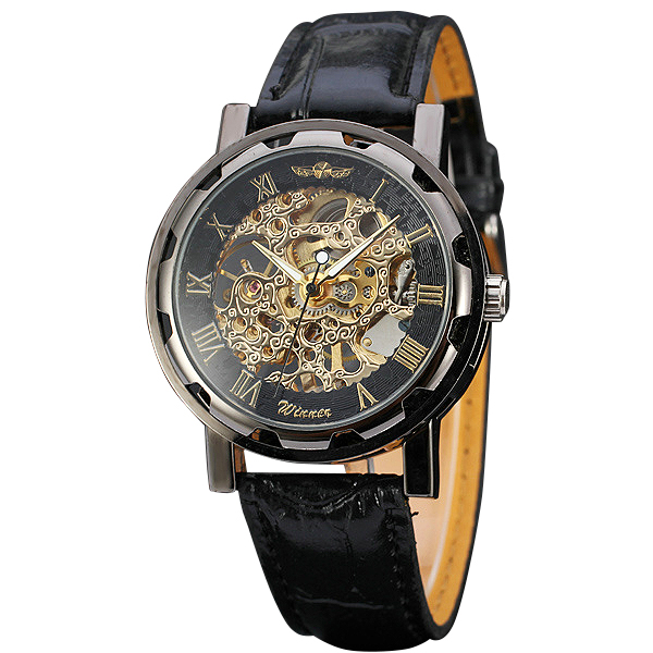 Fashion Ladies Watches Top Brand Luxury WINNER Mechanical Wrist Hand-wind Roman Number Leather montre femme Gifts +BOX