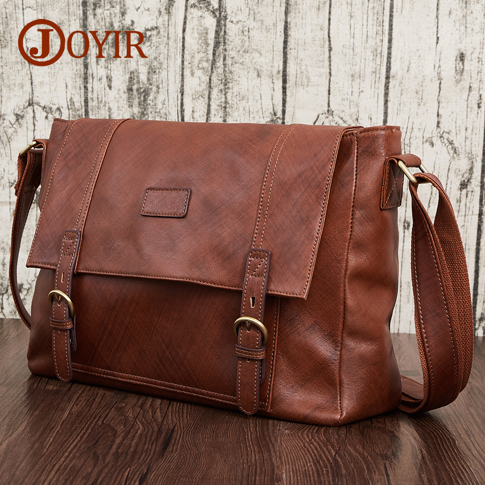 JOYIR Vintage Genuine Leather Men Bag Brand Casual Business 14