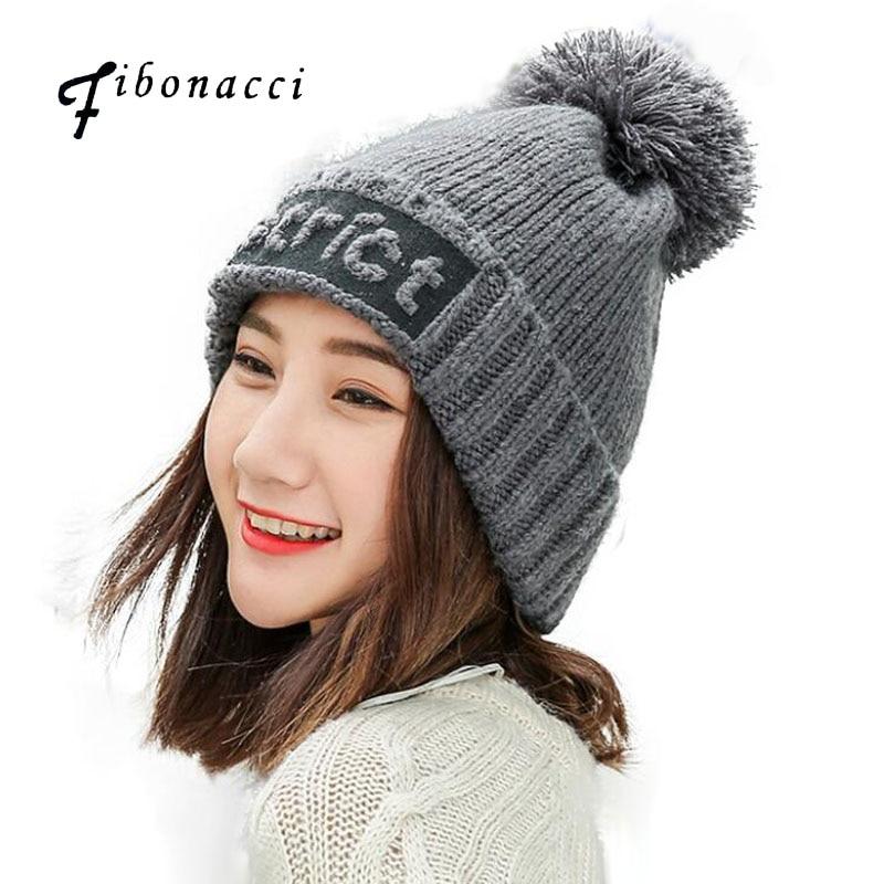 Fibonacci 2017 New Winter Cute Beanies Knitting Protection Warm Knit Hat For Women Plus Velvet Cap generalization of fibonacci sequence