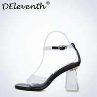 DEleventh Fashion Sandale Femme Ete 2017 Crystal Heels Transparent Strappy Shoes Sandals High Heels High Qualiti