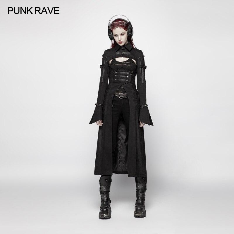 PUNK RAVE femmes Punk vestes futuriste personnalité Long manteau mode militaire noir Sexy à manches longues femmes veste manteau