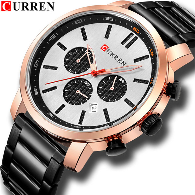 CURREN Men's Fashion Luxury Quartz Watches Men Casual Sport Watch Man Chronograph Waterproof Wristwatch Relogio Masculino curren men s fashion and casual simple quartz sport wrist watch