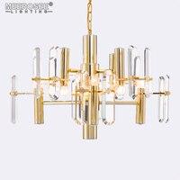 Iluminação Lustre criativo Ouro Pendurado Luminárias Lâmpada de Cristal Lustres Luminária para sala de Jantar estilo Pós