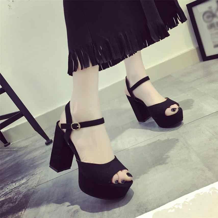 2019 Kadın Kalın Süper Yüksek Topuklu Seksi Gece Kulübü Kadın Sandalet Su Geçirmez Platformu Burnu açık Kemer Toka Sandalet sandalias mujer