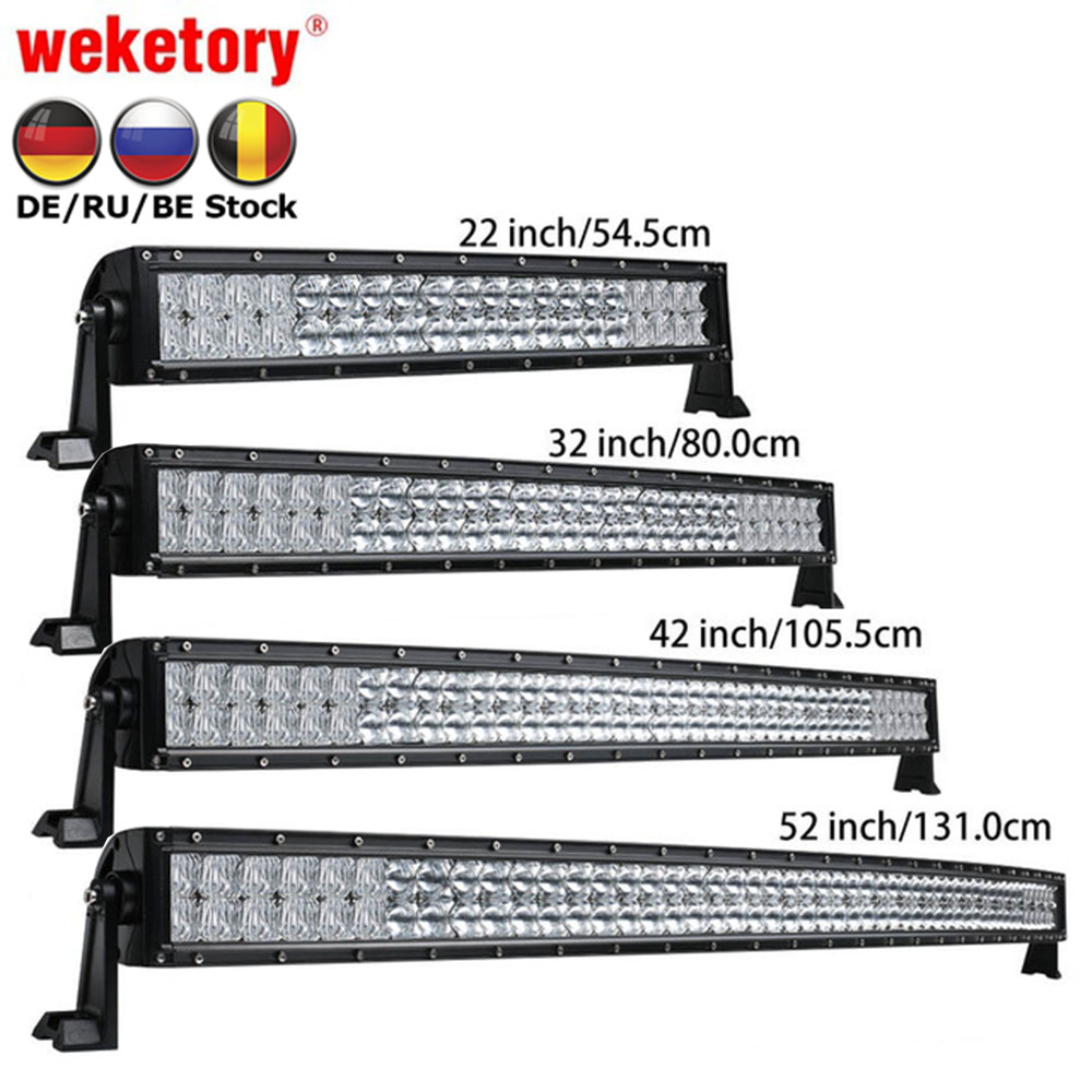 Weketory 5D 22 32 42 52 pulgadas 200 W 300 W 400 W 500 W curvada Barra de luz LED para Tractor Boat OffRoad 4WD 4x4 coche camión SUV ATV